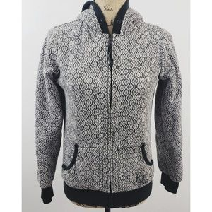 Billabong grey black & white floral hoodie